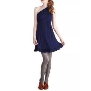 MODCLOTH GILI Navy One Shoulder Dress M